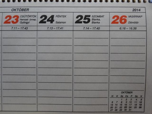 カレンダー今週末