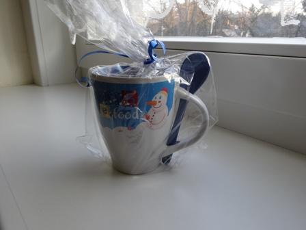 雪ダルマ柄マグカップ