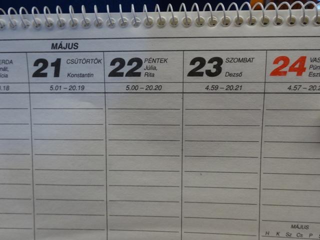 カレンダー5月22日